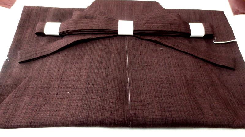 袴に仕立てた下井紬