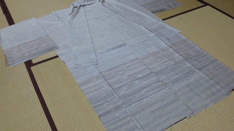 横段の白大島紬